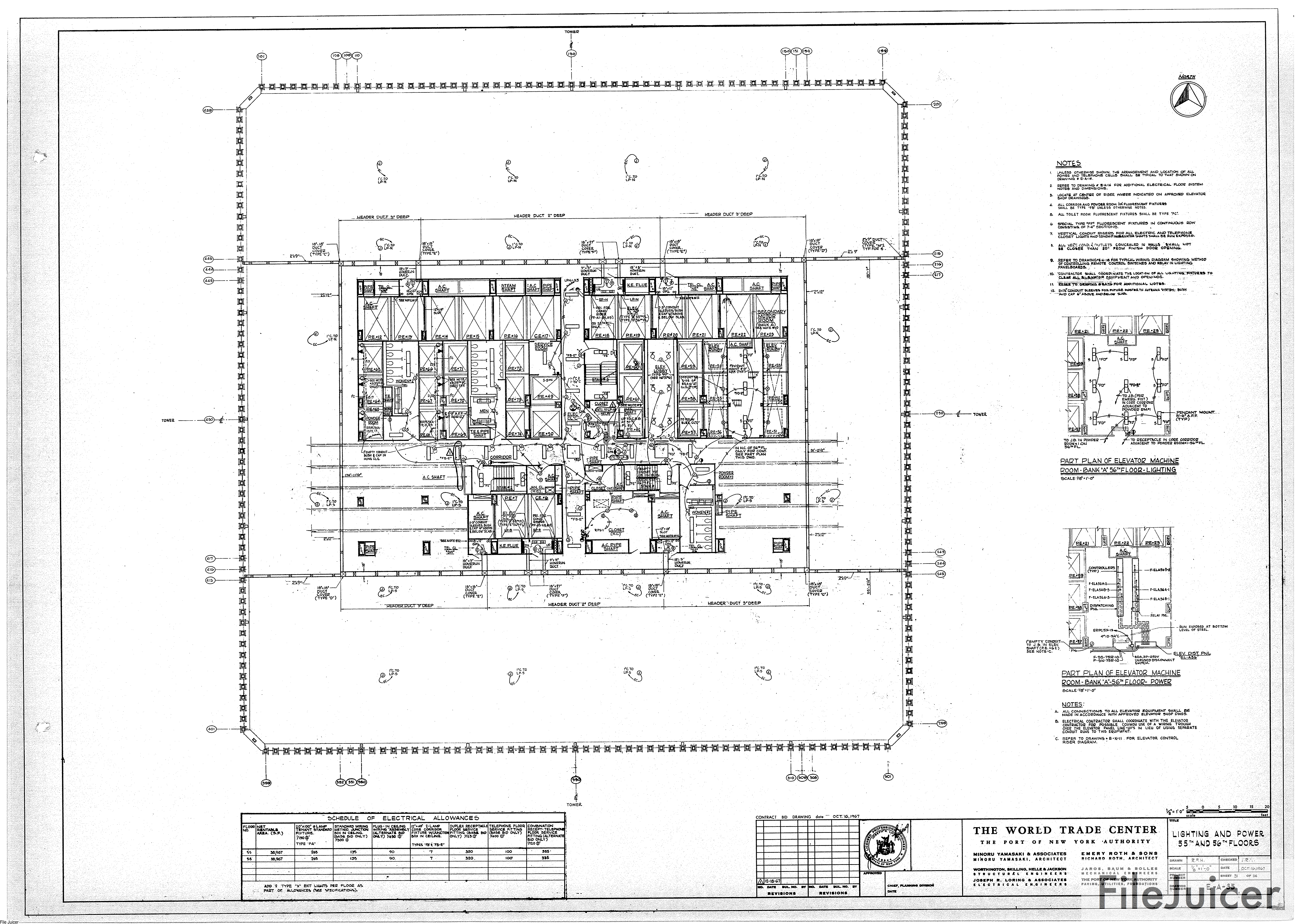 Table Of World Trade Center Tower A Drawings Lighting Control Panel Schematic Diagram Power 55th 56thfloors