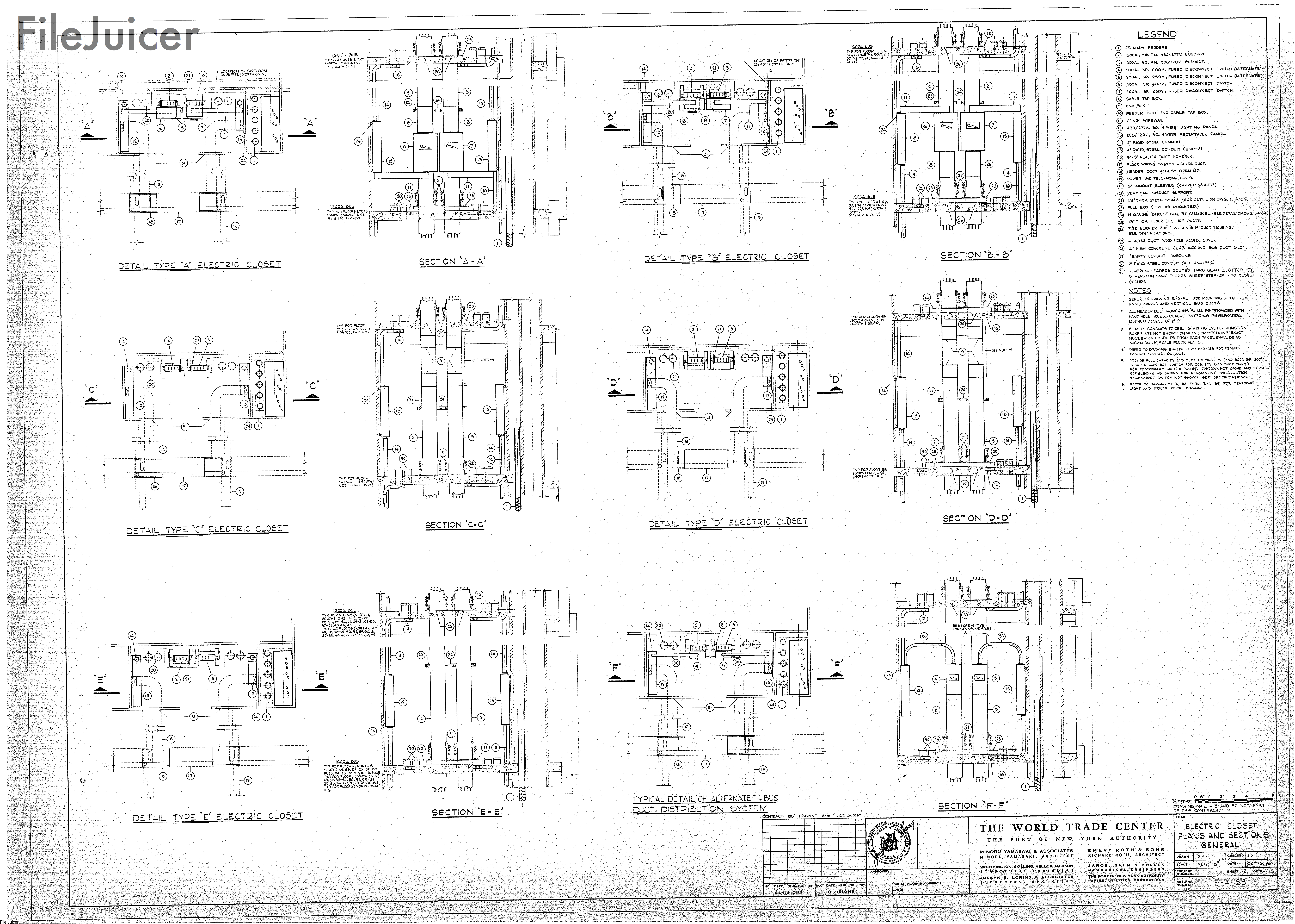 Table Of World Trade Center Tower A Drawings Oset Wiring Diagram Electricclosetplans Sections General